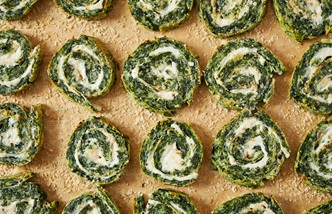 Spinach and curd roulade