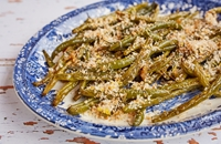 Roasted green beans with sticky garlic and a lemon and Parmesan crumb