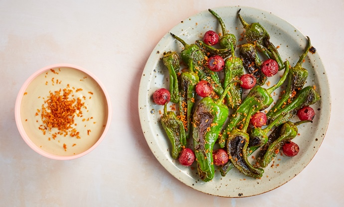 Padron peppers with smoked paprika crumb and grape ajo blanco
