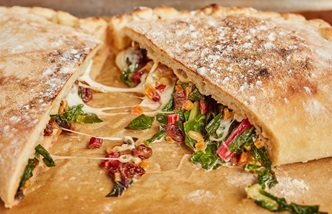 Calzone di verdura – Calzone of swiss chard, mozzarella, pine nuts and raisins