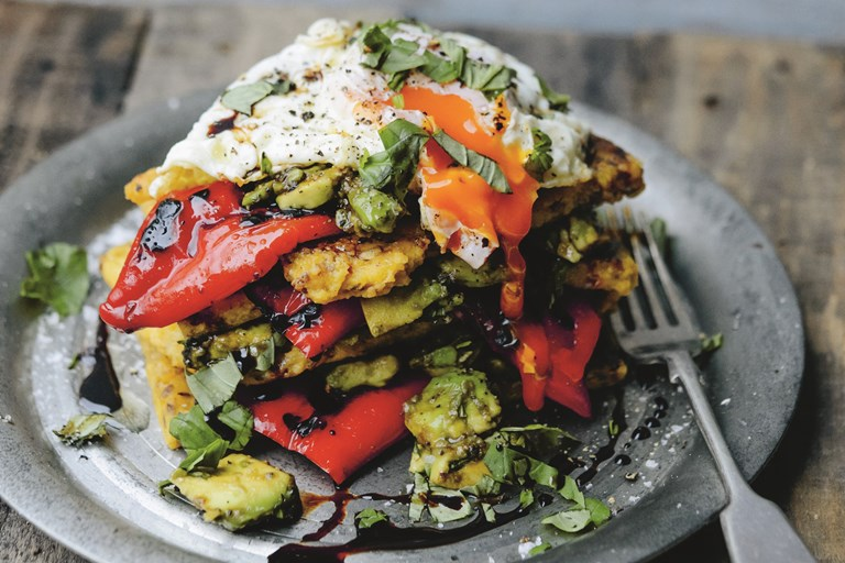 Panelle, grilled Romano peppers, avocado and egg