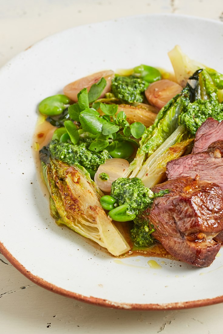 Lamb Rump with Watercress and Roast Garlic Pesto Recipe - Great British Chefs