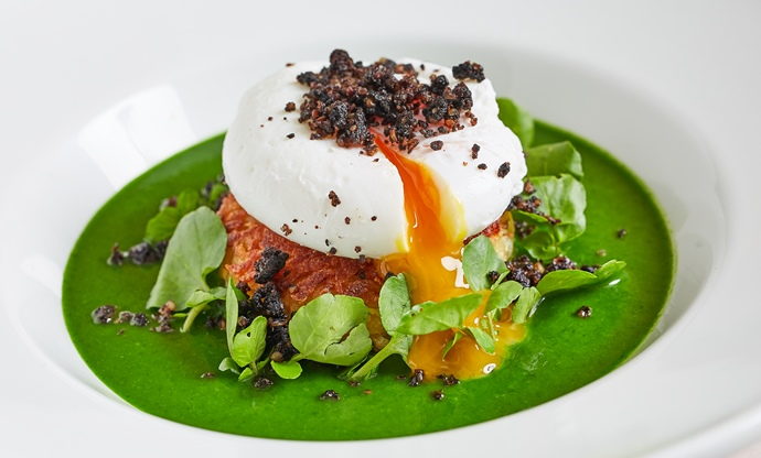 Watercress soup, potato rosti, poached egg and black pudding