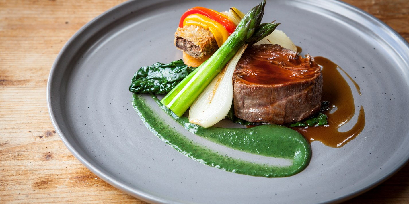 Fillet of Beef with Breaded Ox Cheek and Nettle Purée Recipe - Great British Chefs
