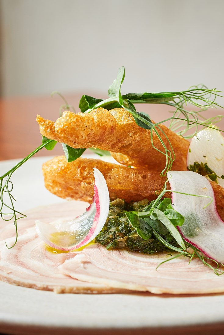 Lamb Prosciutto with Anchovy Fritters and Salsa Verde - Great British Chefs