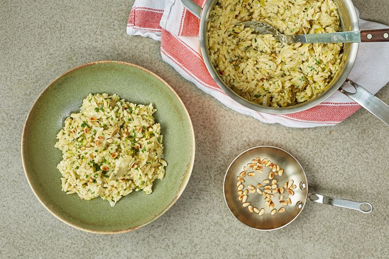 Artichoke orzotto with toasted pine nuts