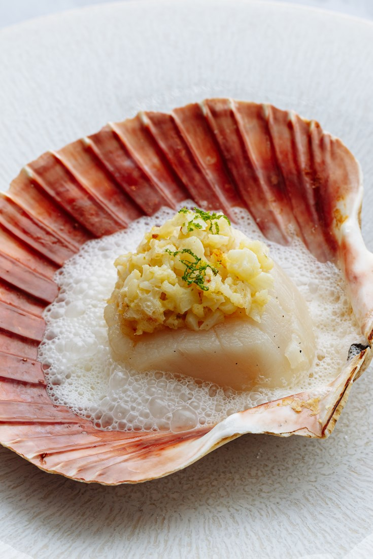 Grilled Scallops with Cauliflower, Ginger, Yuzu and Lemongrass Recipe - Great British Chefs