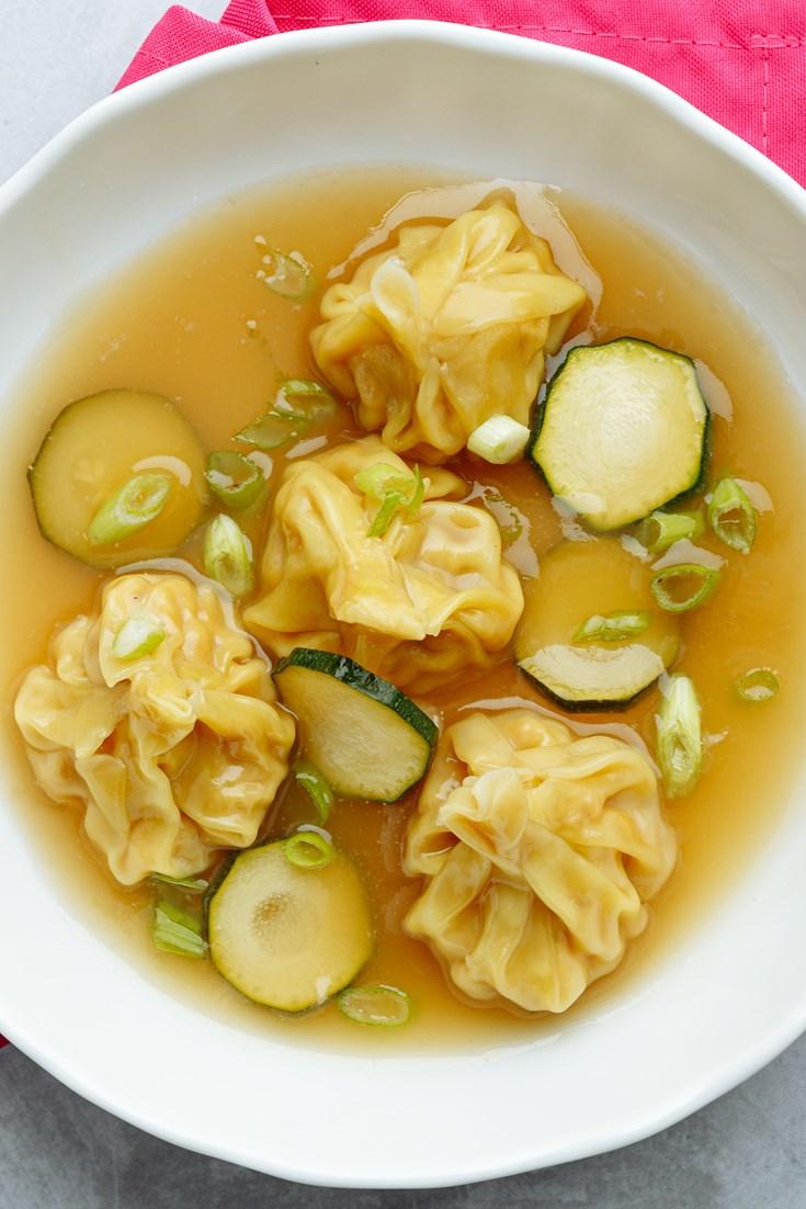 Brown Shrimp Dumplings in Chicken Broth Recipe - Great British Chefs