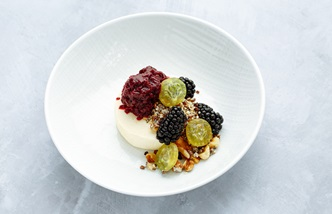 Gooseberry parfait with caramelised nuts and blackberries