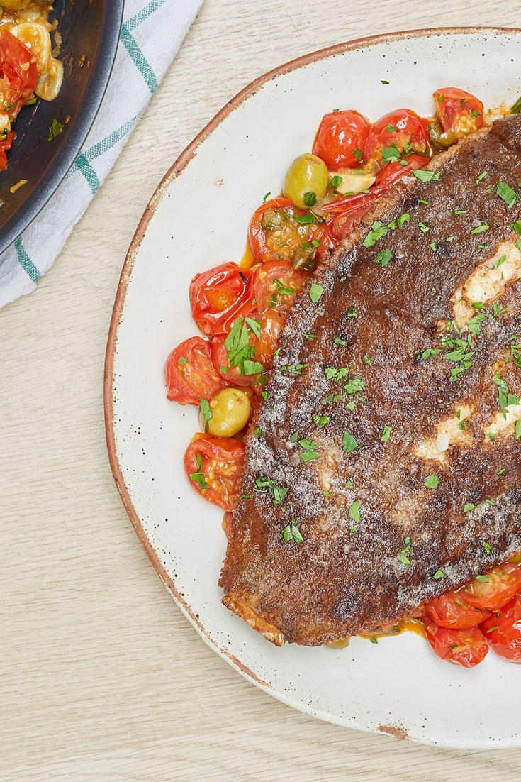 Pan-fried Lemon Sole with Tomato and Caper Sauce Recipe - Great British Chefs