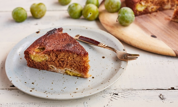 Greengage, honey and spelt cake