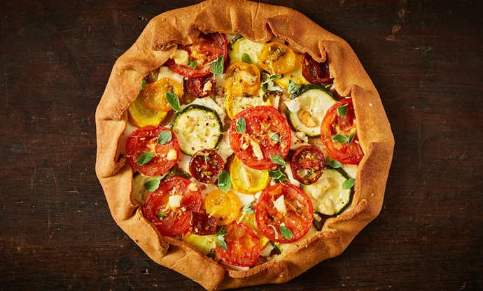 Tomato and courgette khorasan galette