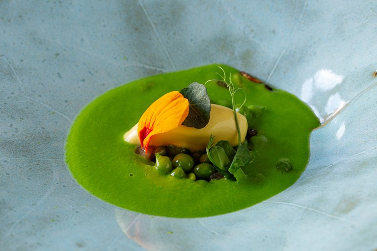 English peas with nasturtium ice cream and pea velouté
