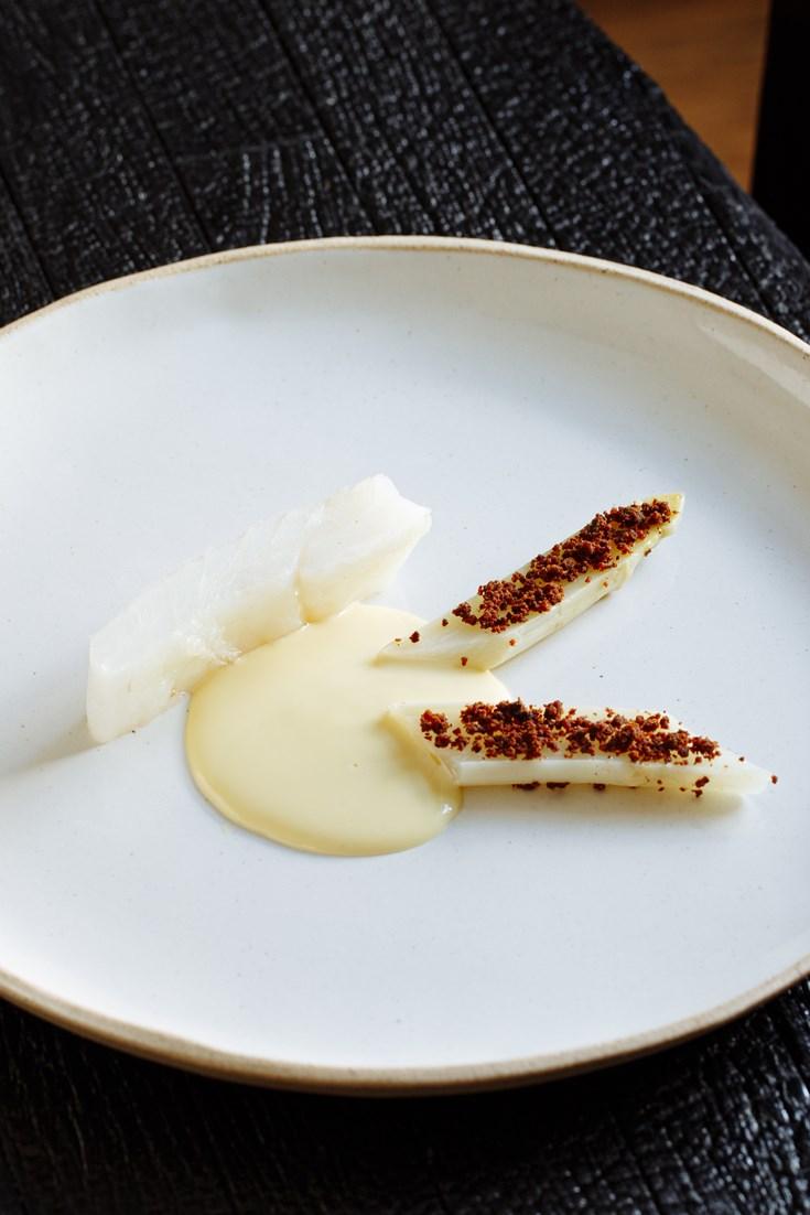 Turbot in Smoked Lardo with White Asparagus and Vin Jaune Recipe - Great British Chefs