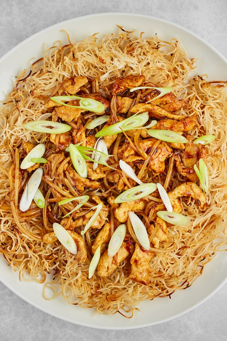 Pan-fried Chicken with Crispy Noodles Recipe - Great British Chefs