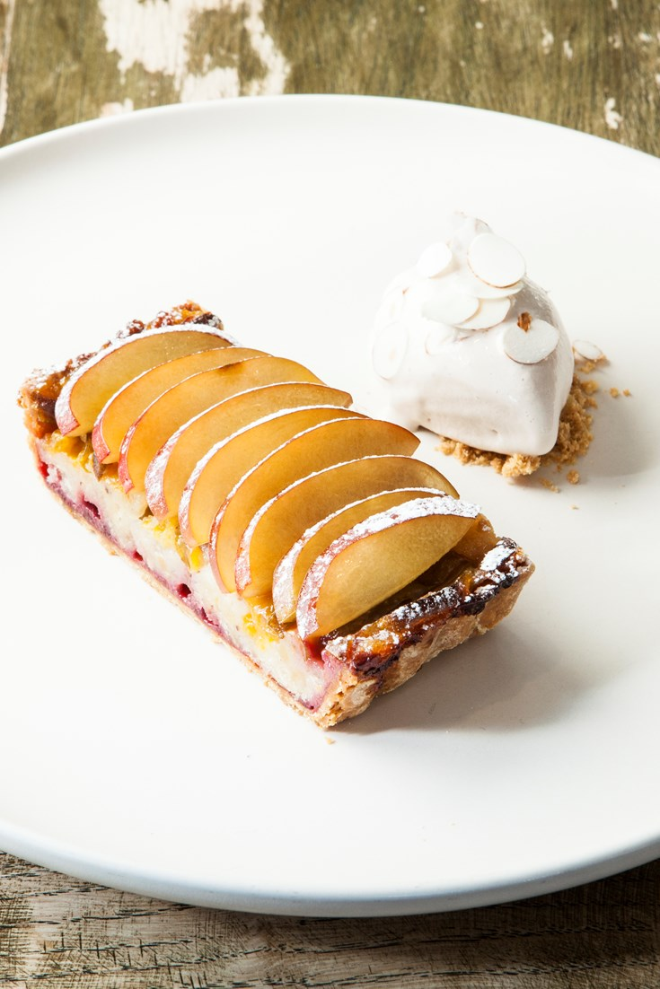 Plum and Hazelnut Tart Recipe with Meadowsweet Ice Cream - Great British Chefs