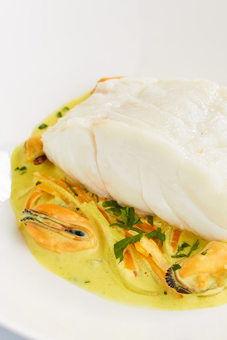 Steamed Cod with Curried Mussels and Carrots Recipe - Great British Chefs