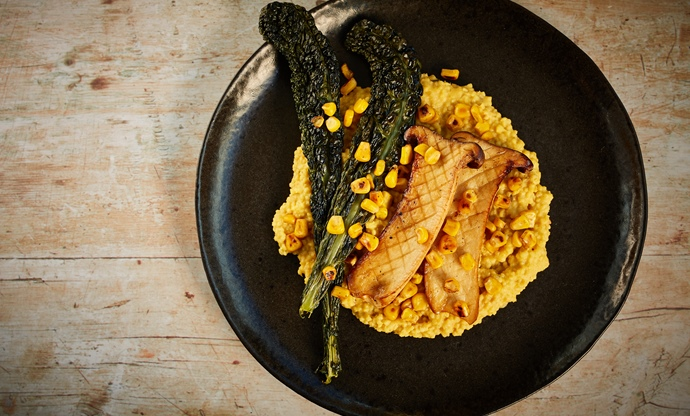 Sweetcorn millet, king oyster mushrooms and crispy cavolo nero