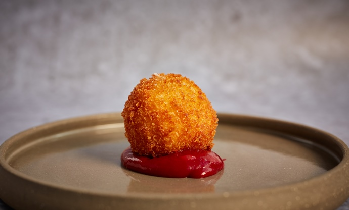 Celeriac croquette with damson ketchup