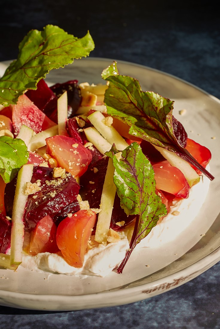 Salt-baked Beetroot with Whipped Ricotta, Apple and Hazelnut Recipe - Great British Chefs