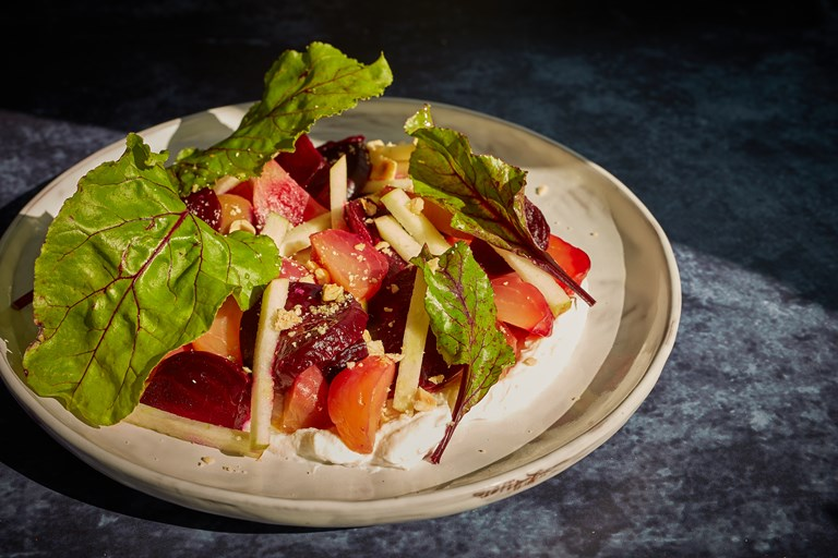 Salt-baked beetroot with whipped ricotta, apple and hazelnut