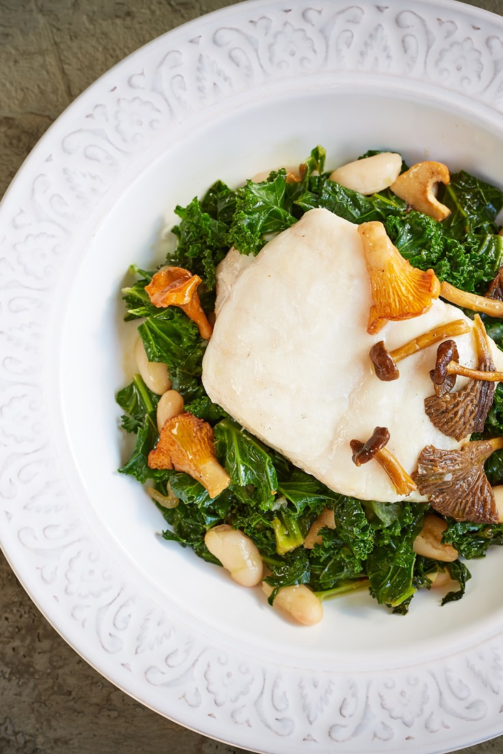 Hake with Mushrooms, Beans and Kale Recipe - Great British Chefs