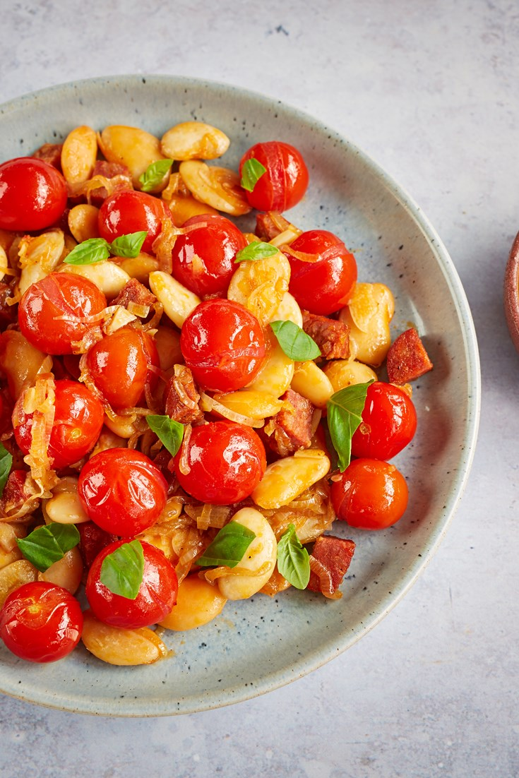 Confit Tomatoes with Butter Beans and Chorizo Recipe - Great British Chefs