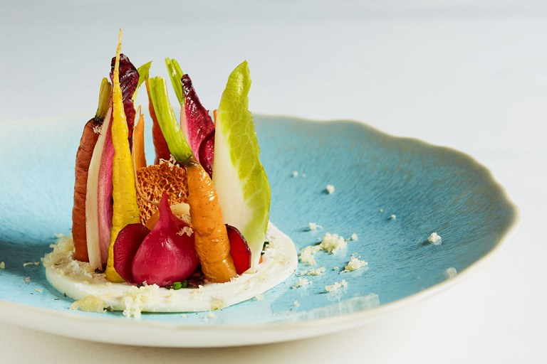 Salad of autumn vegetables with goat's curd and cobnuts