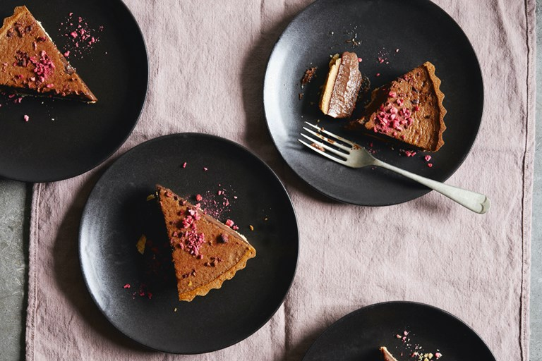 Milk chocolate, raspberry and thyme tart recipe