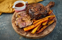 Black garlic and chipotle roast beef with beef dripping carrots