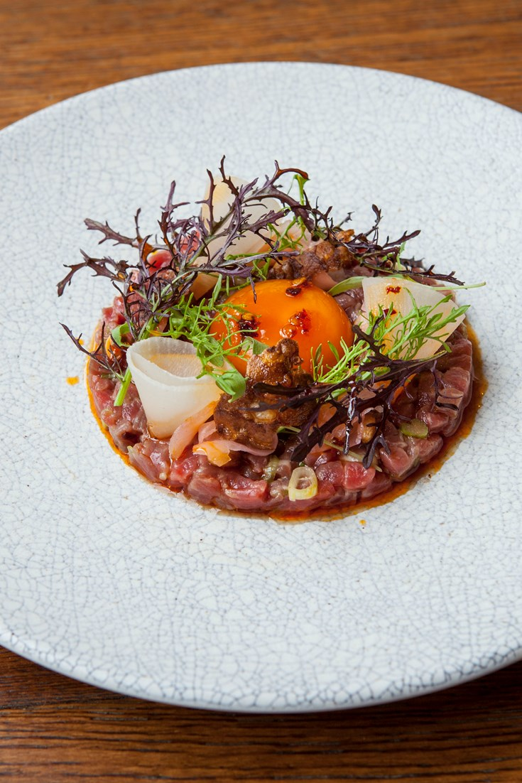 Beef Tartare Recipe with Soy-Glazed Egg Yolk - Great British Chefs
