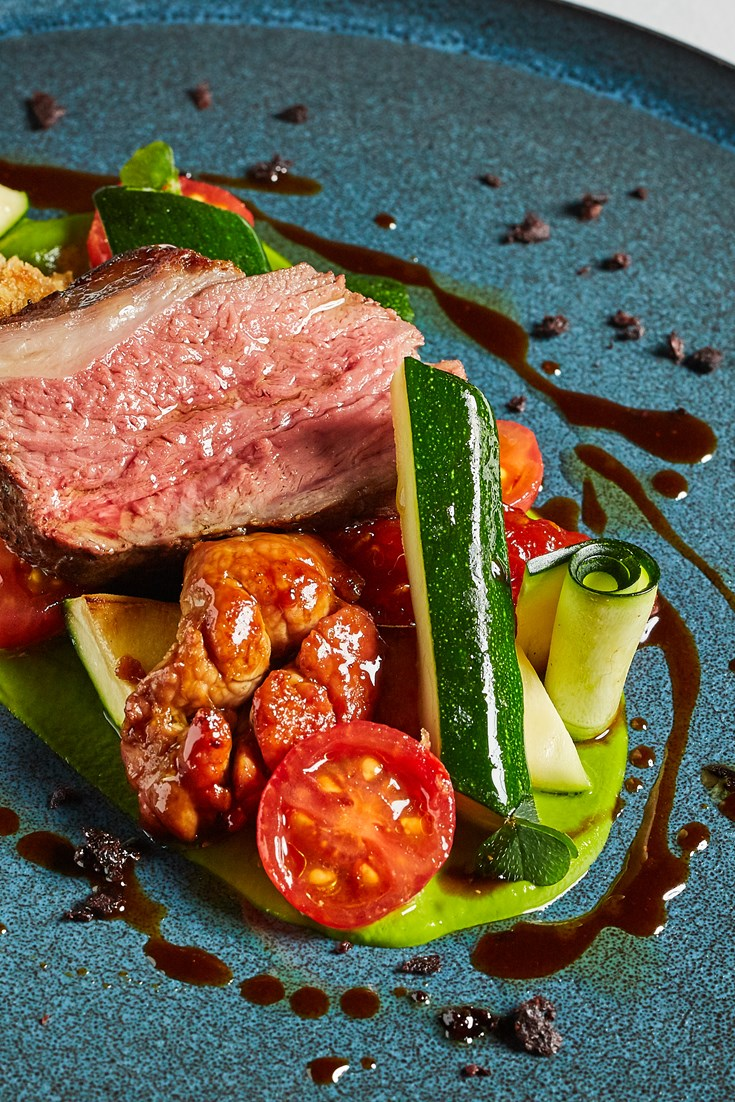 Roast Lamb Rump with Sweetbread, Courgette and Tomato Recipe - Great British Chefs