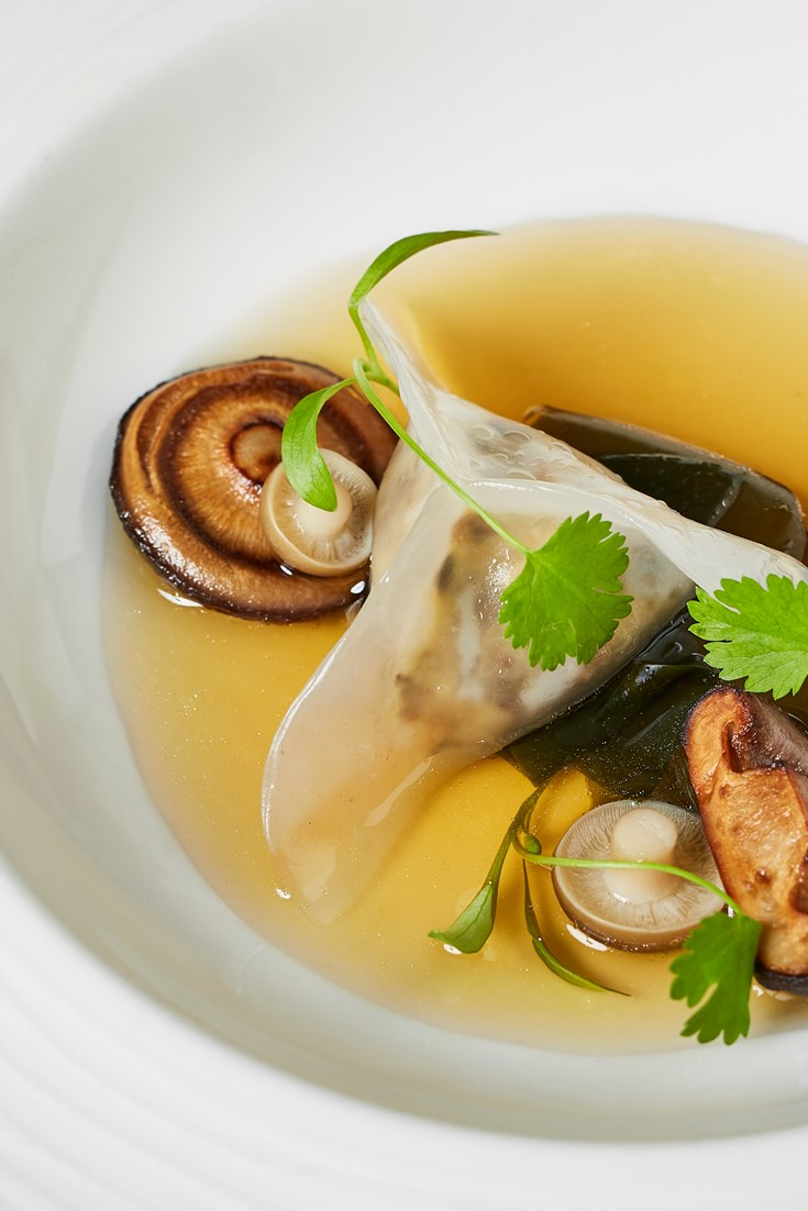 Glass Dumpling with Miso Dashi and Mushrooms Recipe - Great British Chefs