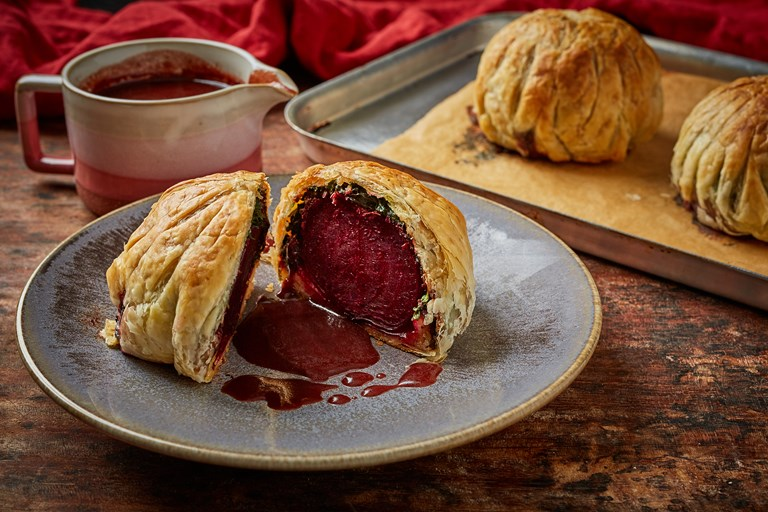 Vegan beetroot wellingtons with mulled wine gravy