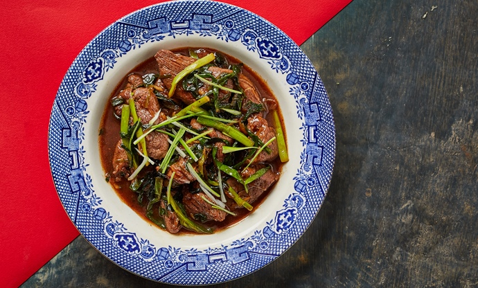 Wok-seared black pepper and oyster sauce venison