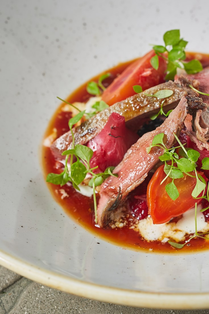 Pigeon with Beetroot, Berries and Buttermilk Recipe - Great British Chefs