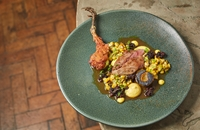 Yorkshire grouse with sweetcorn