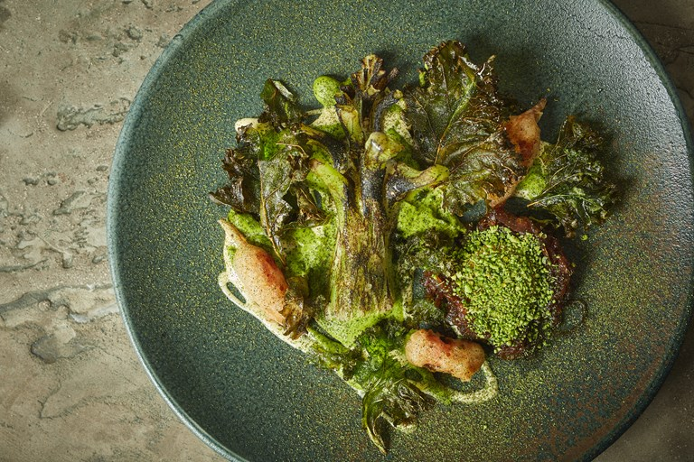 Broccoli stalk with confit egg and blue cheese