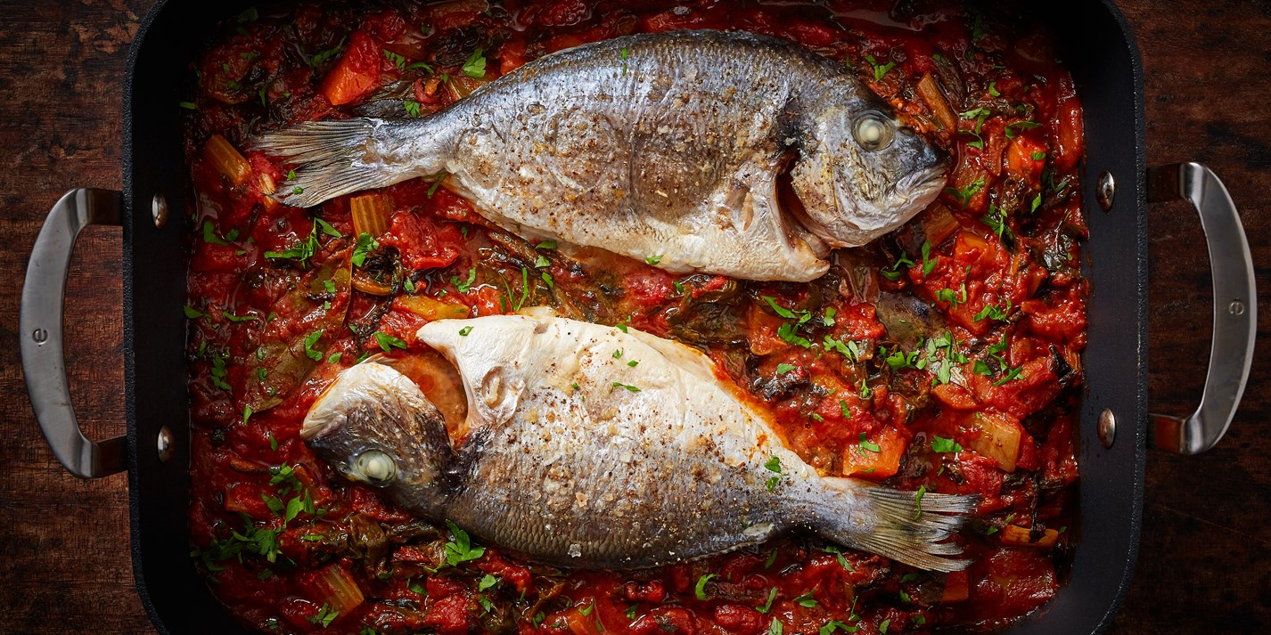 Whole Baked Bream with Tomato and Chard Recipe - Great British Chefs