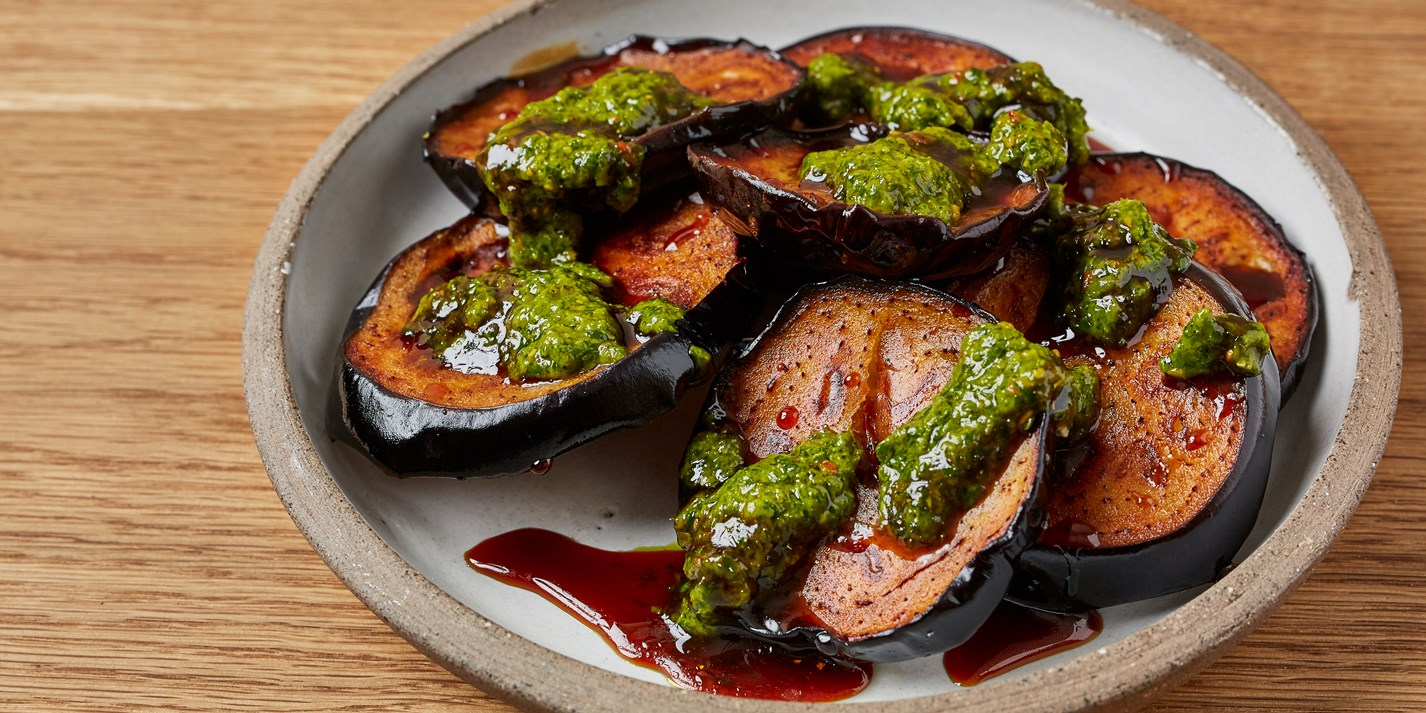 Fried Aubergines with Date Syrup and Zhoug Recipe - Great British Chefs