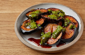 Fried aubergines with date syrup and zhoug