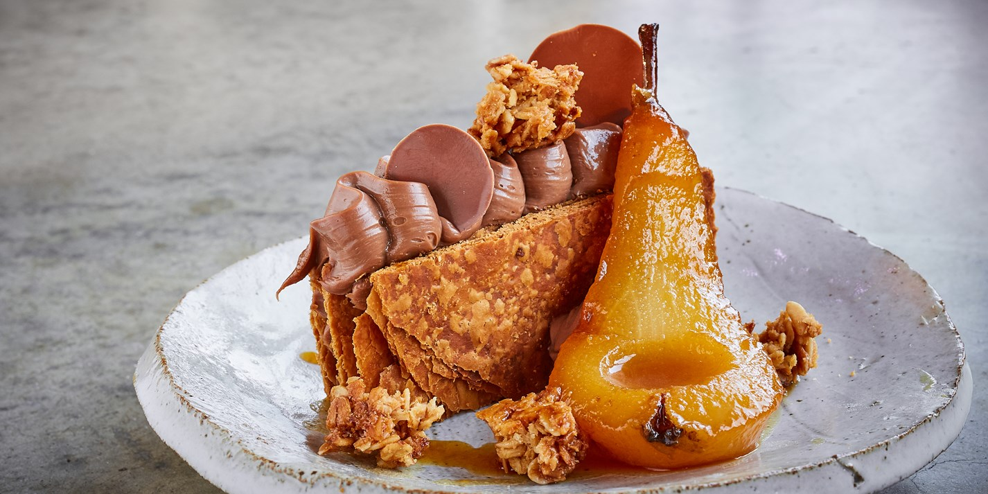 Milk Chocolate and Pear Mille-Feuille Recipe - Great British Chefs