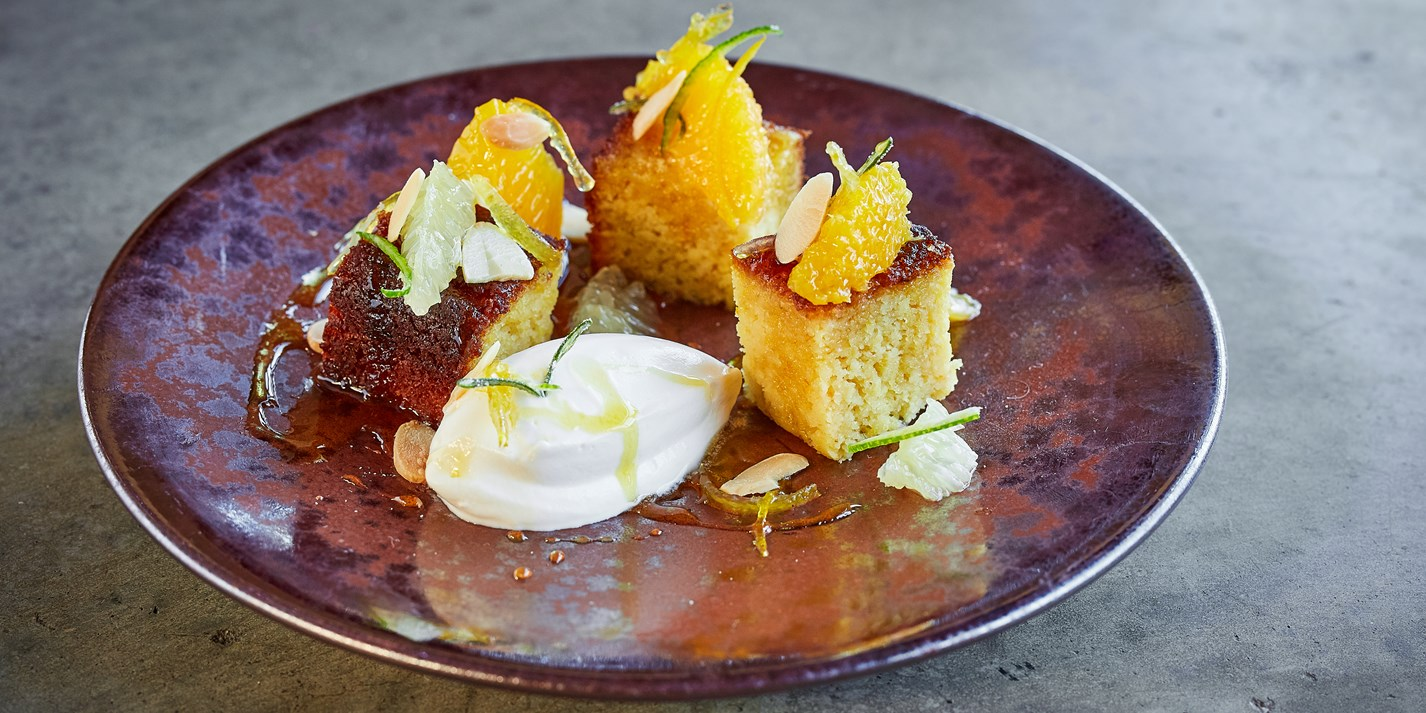 Orange Almond Cake with Citrus Crème Fraiche Recipe - Great British Chefs