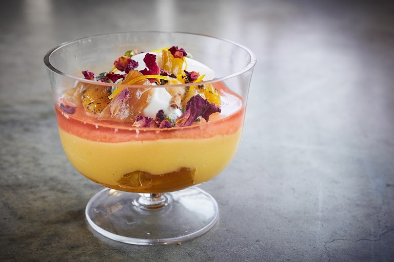 Rhubarb, custard and orange trifle