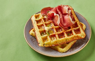 Cheddar and chive waffles