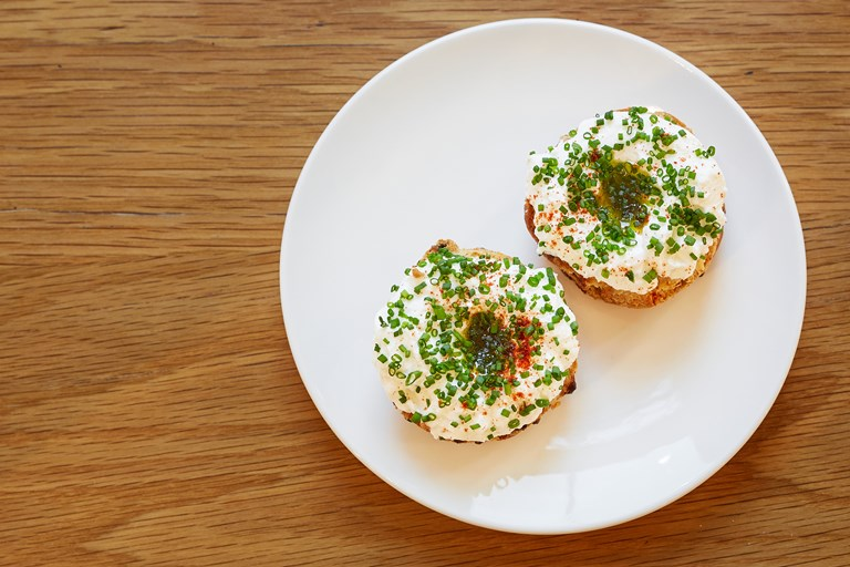 Bacon scones with goat's curd and chives