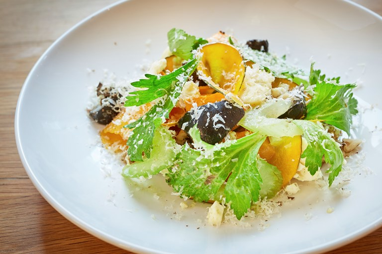 Leafy celery, Devon Blue, roasted squash and pickled walnuts