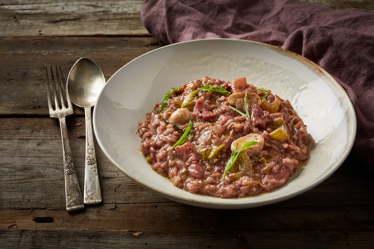 Red wine, bacon and tarragon risotto