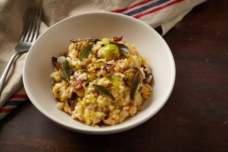 Sprout risotto with crispy sage