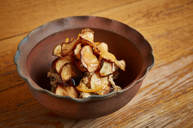 Roasted Jerusalem artichoke in Teramiso and Ginger Syrup